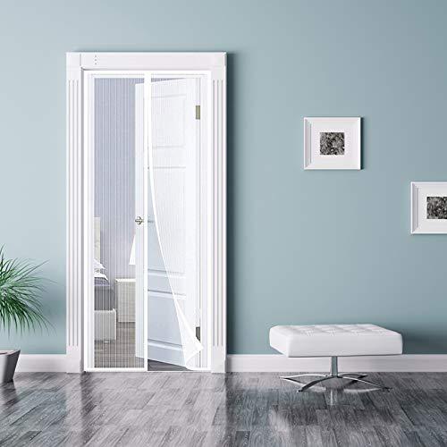 GOUDU Mosquitera Puerta Magnetica, 100x205cm Cortina Puerta Exterior Magnética Automático con Durable para Puertas Correderas/Balcones/Terraza, Blanco A