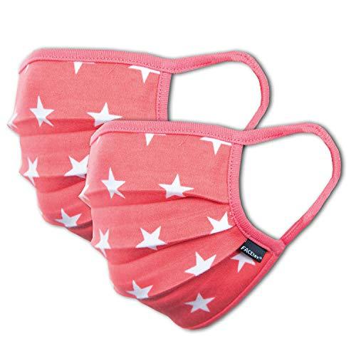 2er-Pack Mundschutz Maske Kinder Junge & Mädchen waschbar, rosa pink Sterne | aus 100% Baumwolle Oeko-TEX 100 Standard Earloop-Design | wiederverwendbarer Mund und Nasenschutz | Ab 6
