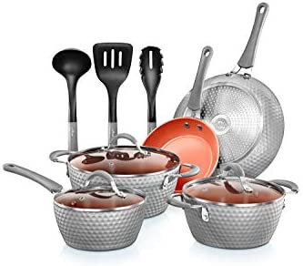 NutriChef Nonstick Cookware Excilon Home Kitchen Ware Pots Pan Set with Saucepan Frying Pans product image