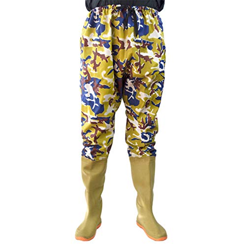 QTDZ Herren wasserdichte PVC Nylon Wathose mit Gummi Stiefel Größe 36-45, 110cm Hoch Atmungsaktiv rutschfest Angelhose/Watstiefel/Wathose, Tarnung,Beige,44 EU