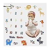 Weiß Baby Monatlich Meilenstein Decke für Jungen Mädchen, 100 x 100 cm Neugeborene Milestone Fotografie Requisiten, Baby Fotodecke Monats Decke, Fotohintergrund-Decke für Wachsende Kleinkinder