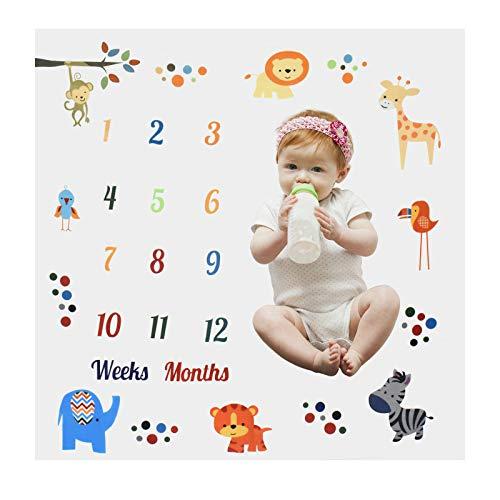 Blanco Manta Mensual de Hito para Bebé, 100 * 100cm Manta Milestone para Fotos Recién Nacidos, Niño Niña Tabla de Crecimiento Mensual, Bebé Fotografía Telón de Fondo Manta Estera