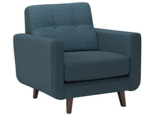 Rivet Sloane Mid-Century Modern Armchair with Tapered Legs, 32.7'W, Denim