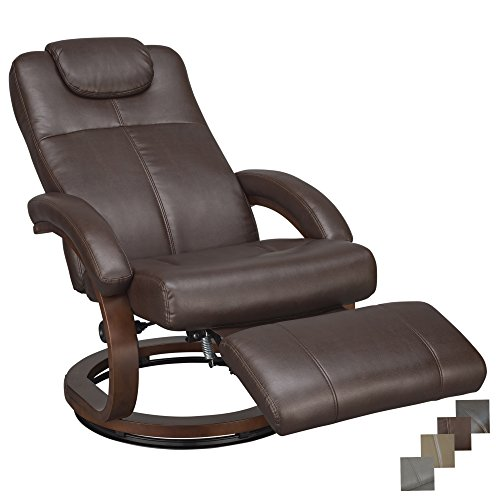 RecPro Charles 28' RV Euro Chair Recliner Modern Design RV Furniture (1, Mahogany)