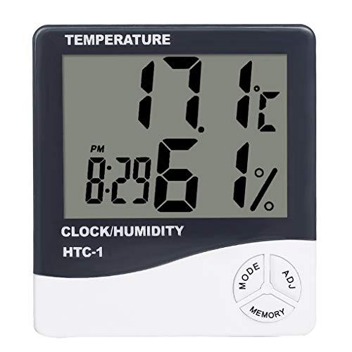 PRENKIN Mini-Digital-Thermometer und Feuchtigkeitsmessgerät Raumtemperatur Innen-LCD Wecker Hygrometer