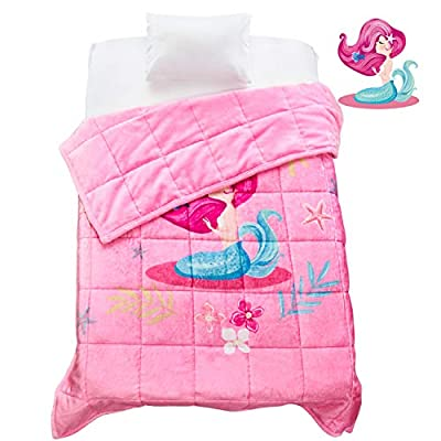 Topblan Kids Fleece Weighted Blanket for Toddler, Super Soft with Lovely Cartoon Pattern, Calm Kids Mind and Body Sleep Better