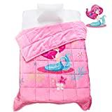 Topblan Kids Fleece Weighted Blanket 3lbs for Toddlers, Ultra Cozy Flannel with Cute Cartoon Prints, Plush Fuzzy Warm Coral Velvet Throw Blanket, 36'x48' Pink Mermaid