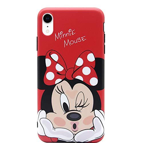 iPhone XR Case, MC Fashion Cute Cartoon Matte Finish Case for Teens Girls Boys Women, Ultra Slim Soft TPU Case for Apple iPhone XR (2018) 6.1-Inch (Kiss/Minnie Mouse)