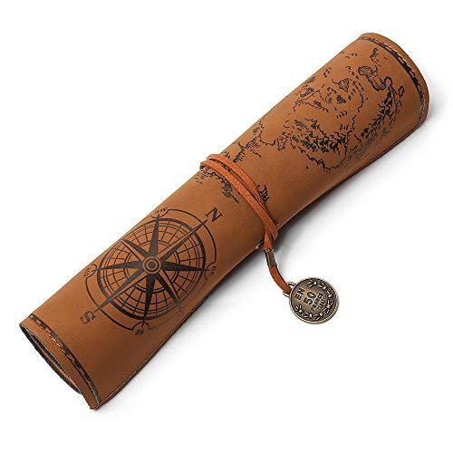 Estuche de cuero de PU, estuche de lápices vintage, caja de lapiz de cuero medieval, estuche de lápices con mapa del tesoro misterioso,estuche escolar(marrón)