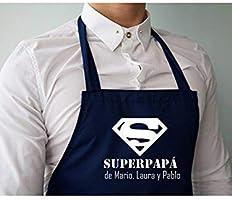 """Didart Handmade Delantal cocina personalizado hombre para papá, con la frase:"""" Superpapá de (nombre)"""". Varios colores a..."""