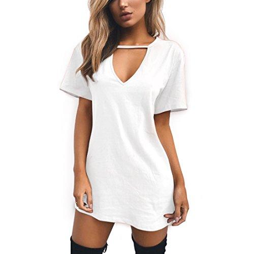 Inlefen Minivestido para Mujer - V Profundo, Manga Corta, Parte Superior de los Vestidos, Camiseta Larga para Mujeres