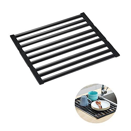 Haucy Escurreplatos para fregadero de cocina, plegable, de aluminio, antideslizante, color negro