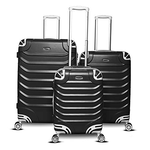Gabbiano Aspire Collection 3-Piece Hardside Spinner Luggage Set (Black)