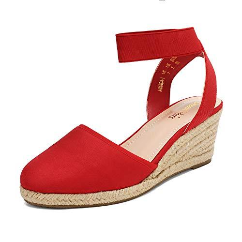 DREAM PAIRS Women's Red Closed Toe Elastic Ankle Strap Espadrilles Wedge Sandals Size 5 M US Amanda-1