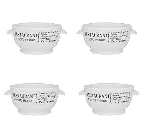 Pillivuyt Brasserie Eared Onion Soup Bowl, 15 Ounce Capacity (Four Pack)