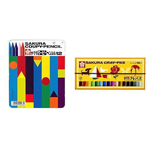 【セット買い】サクラクレパス 色鉛筆 クーピー 12色 缶ケース入り FY12 & クレパス 16色 ゴムバンド付き LP16R