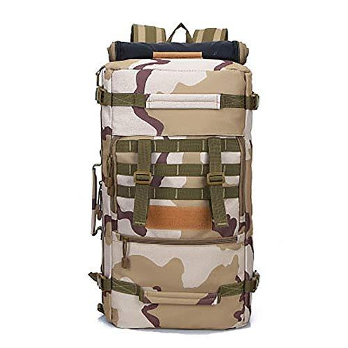 JiuRui Sacs d'extérieur 50L Sac à Dos Tactique Militaire Randonnée Sport Daypack Sacs à bandoulière Chasse Waterproof Camping Rucksack (Capacity : Other, Couleur : Sand)