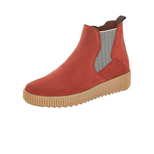 Remonte Damen Stiefeletten, Frauen Chelsea Boots, halbstiefel Schlupfstiefel flach weiblich Lady Ladies feminin,Orange(Ziegel),39 EU / 6 UK