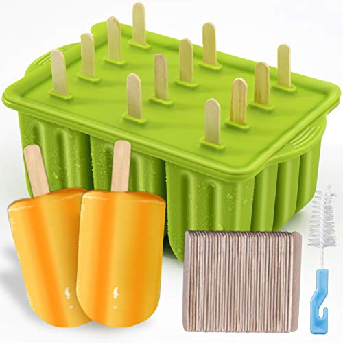 Popsicle Molds Kit MEETRUE 12 Pieces Silicone Popsicle Molds EasyRelease BPAfree Popsicle Maker Molds Ice Pop Molds Homemade Popsicle Ice Pop Maker with 50PCS Popsicle SticksCleaning Brush Yellow
