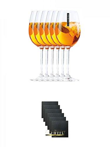 Scavi & Ray Hugo Glas 6 Stück + Schiefer Glasuntersetzer eckig 6 x ca. 9,5 cm Durchmesser