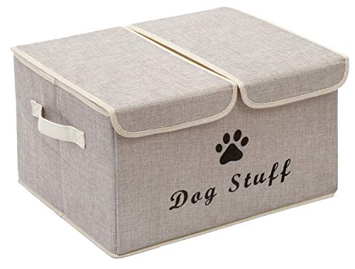 Pethiy Large Storage Boxes - Large Linen Fabric Foldable Storage Cubes Bin Box Containers with Lid and Handles for Dog Apparel & Accessories, Dog Coats, Dog Toys, Dog Clothing-Beige
