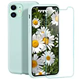 zelaxy iPhone 11 case, Silicone Series Gel Rubber Microfiber Cloth Lining Cushion Protective Case with Screen Protector for iPhone 11 6.1 Inch - Mint