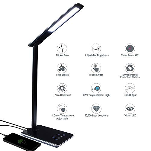 Kingwin Desk Lamp LED For Bedrooms With USB Phone Charging Desk Or Office Table Lamp For Dorm Room Essentials, Desk Accessories, Office Desk, College Dorm Room Accessories