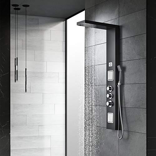 KOMIRO Duschsäulen mit LCD-Display, Duschpaneel mit Thermostat, 304 Schwarz Matt Edelstahl-Duschset, Duschsäulen Regendusche Duschset Wassertemperaturanzeige Massagedüsen duschpanel