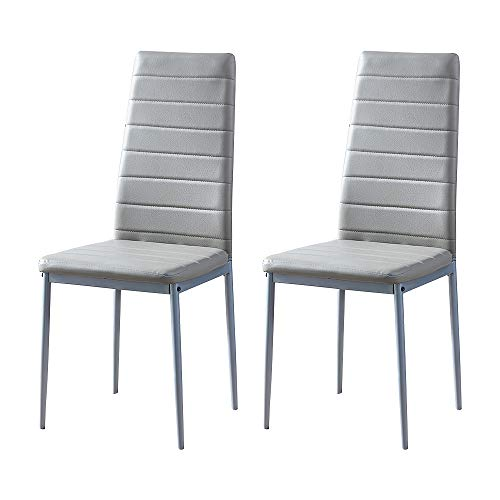 Huisen Furniture Grey Dining Room Chair Set of 2 Faux Leather Kitchen Chairs with Comfy Upholstered Padded Seat Contemporary Home Office Chairs for Small Space Restaurant Lounge