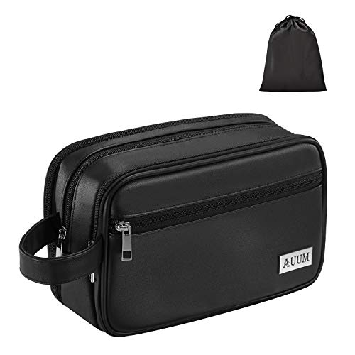 AUUM Toiletry Bag for Men & Women, Travel Leather Toiletries Organizer, Portable Waterproof Dopp Kit Shaving Bag for Toiletries Accessories (Black)