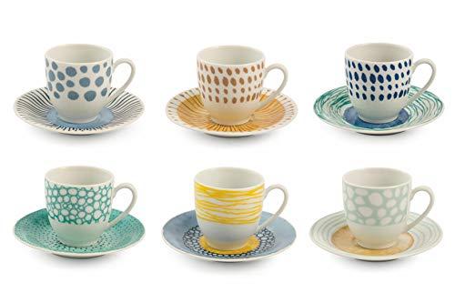 Villa d'Este Home Tivoli, Marea - Juego de 6 tazas de café con platillo de porcelana
