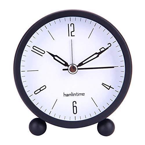 Reloj despertador redondo decorativo de metal silencioso, para mesita de noche, reloj retro, reloj despertador para decoración del hogar de niños, fácil set (color negro).