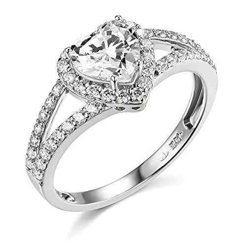 TWJC 14k White Gold Solid Wedding Engagement Ring - Size 6