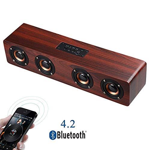 Speaker-EJOYDUTY Drahtloses Bluetooth beweglicher Holz-Lautsprecher, 4 x 3W Horn Innen- und Außen Sound Bar, Eingebautes Mikrofon, Lautsprecher für PC/Handy/Tablets