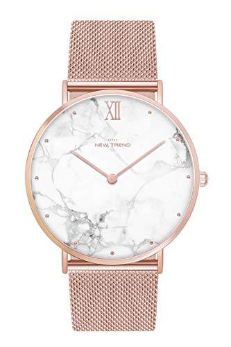New Trend Armbanduhr Rosegold Damenuhr Herrenuhr Uhr Nylonarmband Metallarmband