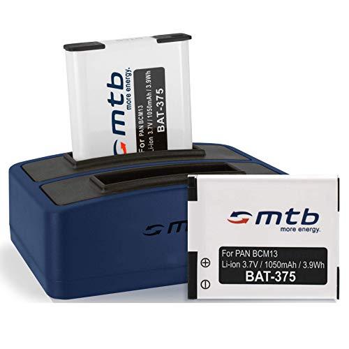 2 Akkus + Dual-Ladegerät (USB) kompatibel mit Panasonic DMW-BCM13 für Lumix DMC-FT5, TS6, TZ37, TZ40, TZ60, TZ70, TZ71, ZS30, ZS40. - s. Liste