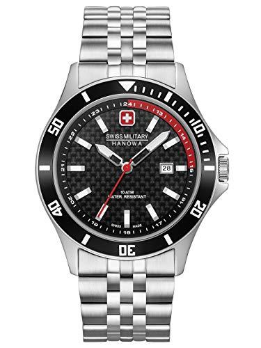 Swiss Military Hanowa Unisex Erwachsene Analog Quarz Uhr mit Edelstahl Armband 06-5161.2.04.007.04