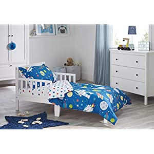 Bloomsbury Mill – 4 Piece Toddler Comforter Set – Outer Space, Rocket & Planet – Blue – Kids Bedding Set