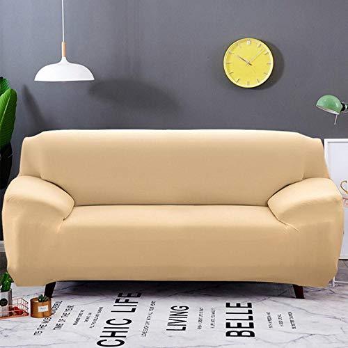 XCVBSofa hoes Effen kleur Elastische Sofa Cover All-inclusive Kussenovertrekken 1/2/3/4 zits Moderne Hoekbank Bank Hoes Stoelbeschermer, beige
