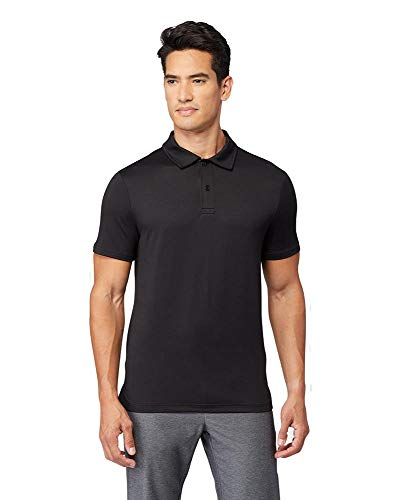 32 DEGREES Cool Mens Classic Slim Fit Quick-Dry Active Golf Polo, Black, X-Large