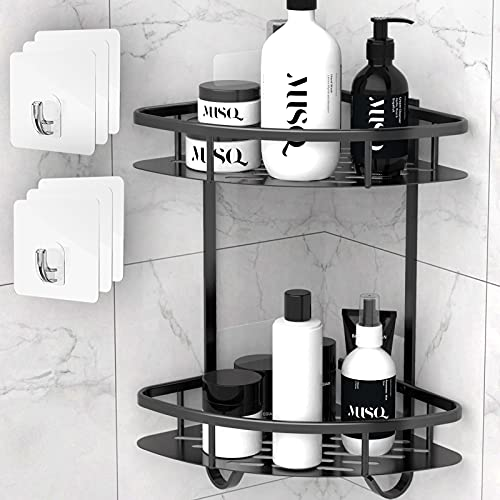 Flowmist Shower Caddy Corner Shelf, 2 Tiers Shower Organizer, No Drilling Wall Mounted Aluminum Adhesive Shower Shelf, Storage Rack for Toilet, Shampoo, Dorm and Kitchen