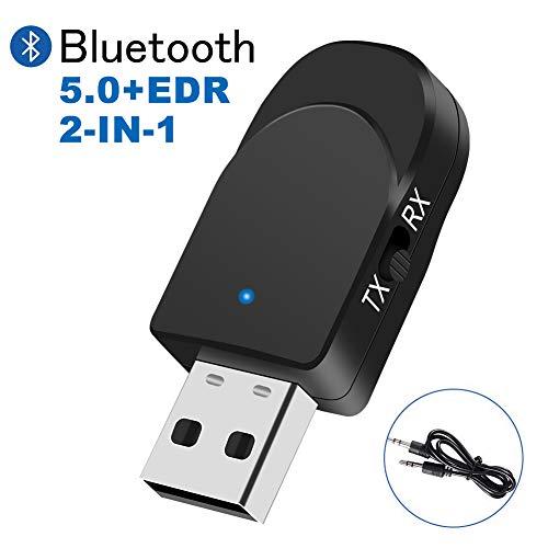 TouchSKY Bluetooth 5.0 Audio Adapter, Bluetooth Transmitter Empfänger für TV Laptop Stereoanlage Kopfhörer Lautsprecher, 2 in 1 Transmitter und Empfänger mit TX/RX-Schaltmodus
