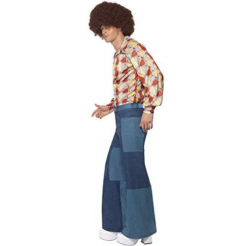 PARTY DISCOUNT NEU Herren-Schlaghose Patchwork-Jeans-Look, Gr. L