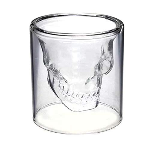 1 Vaso Shot en Forma de Calavera Caballito de Cristal Vidrio Doble Pared Resistente Ideal Whisky Tequila (75ml)