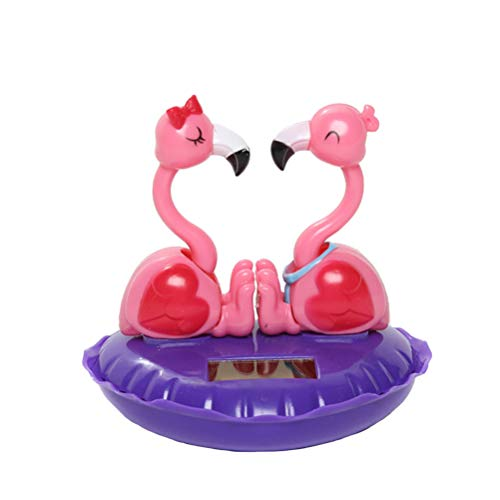 TENDYCOCO Solar Powered Dancing Toy Flamingo Figurine Animal Car Dashboard Ornaments Car Swinging Shaking Head Toy Decor for Carnival Party