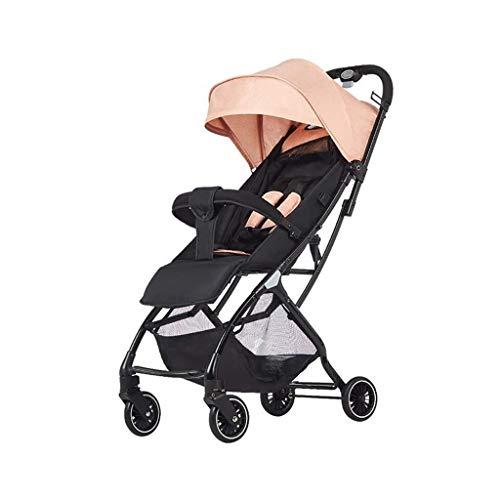 CS-DTXC Baby kinderwagens kan zitten op Reclining pasgeboren karren en kan gemakkelijk worden gevouwen op het vliegtuig 0-3 jaar oude Travel wandelwagen (kleur : roze), roze beste cadeau voor mama/papa