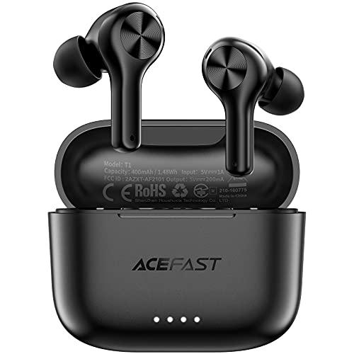 ACEFAST Cuffie Bluetooth 5.0 con Custodia di Ricarica, Auricolari Bluetooth Impermeabili IPX6 Wireless con Microfono ENC, Cuffie senza Fili per Sport, Controllo Touch per iPhone Samsung Huawei Xiaomi