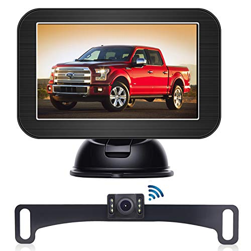"""B-Qtech 5"""" Wireless Backup Camera and Monitor Kit丨Waterproof Night Vision Front/Rear View Camera with Grid Line丨Easy Installation for Cars, Trucks, Pickups, Camping Car, SUV"""