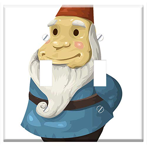 Switch Plate Double Toggle - Gnome Statue Decoration Dwarf Elf Troll Beard