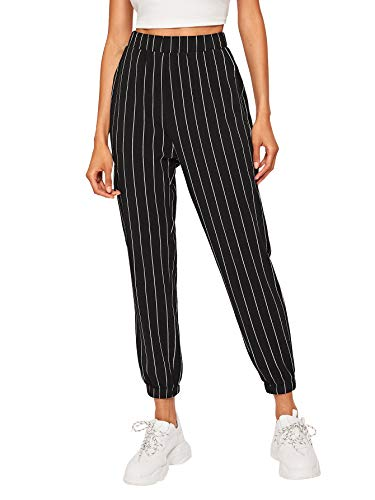 SOLY HUX Women#039s Sporty Mid Waist Striped Workout Pants with Pockets Striped XS